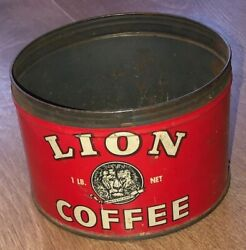 Vintage Lion Brand 1lb Coffee Can Woolson Spice Co. Metal Tin Empty No Lid
