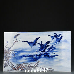 22 Republic China Antique Dynasty Porcelain Blue White Red Wild Goose Statue