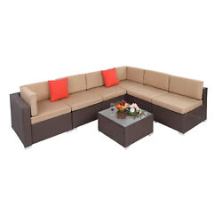 7pcs Patio Chair Rattan Furniture Outdoor Sectional Cushioned Sofa Andcoffee Table
