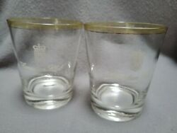 Set Of 2 Canadian Club Whisky Rocks Glass Low Balls W/gold And Yellow Trim