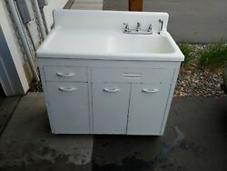 White Enamel Coated Cast Iron Kitchen Farm Sink With Drain Board And Chrome Faucet