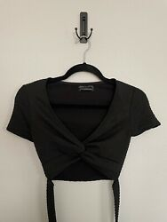 Urban Outfitters Womens Twist Front Crop Top Size Xs