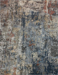 Blue Vintage Distressed Worn Faded Contemporary Area Rug Abstract Rei1700