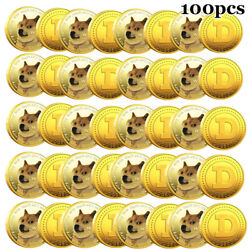 100x Gold Dogecoin Coins Commemorative 2021 Collectors Gold Plated Doge Coin New