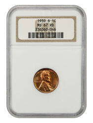 1939-s 1c Ngc Ms67 Rd - Lincoln Cent