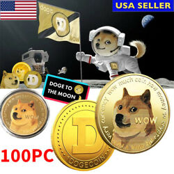 100pcs Gold Dogecoin Coins Commemorative Collector Gold Color Space Doge Coin