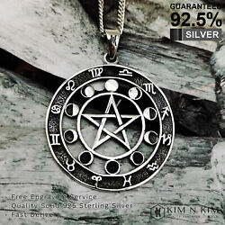 Pentagram Wiccan Pagan Moon With Zodiac Signs Pendant Necklace / Free Engraving
