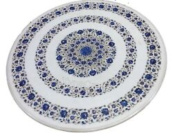 36x36 Inch Marble Dining Table Top Lapis Lazuli Stone Inlay Work Kitchen Table