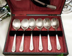 Set Of Old English Dessert Spoons Silver Plated Epns England Dorchester Plate