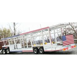 Trailer Car Transporter 6 Cars Style Open White Version Usa 1/18 - Mnt018 Mn Tr
