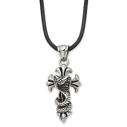 Stainless Steel Antiqued And Polished Snake On Cross 20in Necklace Srn1720