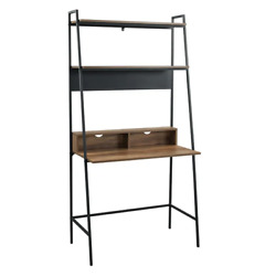 Wood Leaning Ladder Desk Study Table Computer Workstation With Shelves