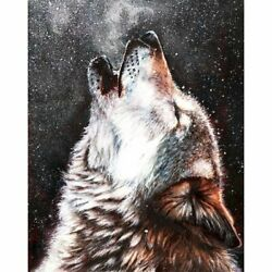 Howling Wolf Animal Oil Paintings Home Art Craft Set Diy Paint By Numbers Kit