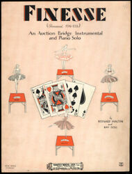 Finesse An Auction Bridge Intrumental And Piano Solo Sheet Music 1929