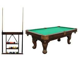 """Lancaster 90"""" Ball And Claw Billiard With Cue Rack And Accessories Green"""