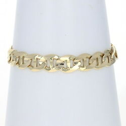 Yellow Gold Flat Anchor Chain Menand039s Bracelet 8 3/4 - 10k Mariner Italy