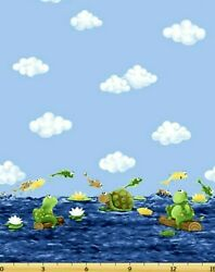 Paul And Sheldon Fabric Border Print Frog Turtle OOP Quilt Shop Quality Cotton