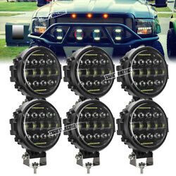 6pcs 7'' 540w Round Led Work Lights Offroad Driving Spot Lamp For Jeep Suv Truck