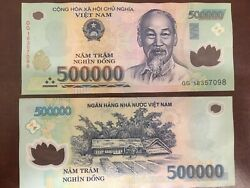50m 500000 Vietnamese Dong 100x 500000 Genuine Polymer Circulated Bank Note