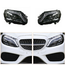 Led Headlights Assembly For C-class W205 15-20 Led Drl Replace Factory Halogen