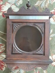 Oak Antique Wall Clock Case Hand Carved Primitive Country Arts And Crafts Vintage