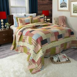 Patchwork Country Farmhouse Quilted Blanket Colorful Bedspread Twin Queen King