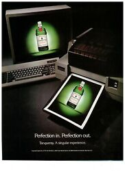 1989 Tanqueray Gin Green Bottle Printed Out Vintage Print Advertisement