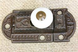 Old Cabinet Catch Jelly Cupboard Latch White Porcelain Knob Vintage Rustic 3