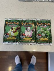3x Sealed Jungle 1st Edition Booster Packs Unweighed Artset Pokemon Cards