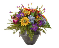 Nearly Natural Mixed Flowers Artificial Arrangement In Metal Bowl Home Decor