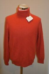 Nwt 2,375 Brunello Cucinelli Men's Cashmere Turtleneck Sweater In Red Sz Large