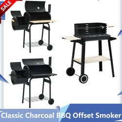 Classic Charcoal Bbq Offset Smoker Stand Outdoor Party W/ Wheels Thermometer New