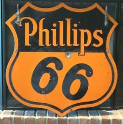 Vintage Original Phillips 66 Oil Company Two-sided Porcelain Ring Sign - Good