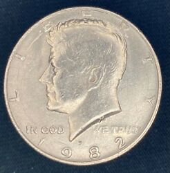 1982 P Kennedy Half Dollar Coin Missing Fg Initials And Serif On 1