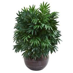 Nearly Natural 32andrdquo Bamboo Palm Artificial Plant In Metal Bowl Realistic Decor
