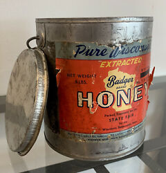 Very Rare 1920's Badger Brand Wisconsin State Fair Edition Honey Tin W/lid