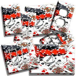 ♤ Casino Game Poker Dealer Chips Cards Light Switch Outlet Plates Man Cave Decor