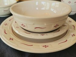 Longaberger Pottery Woven Traditions Red Set Of 12 Dinnerware Excelent Condition