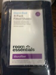Room Essentials Dorm Bed 4 Pack Fitted Sheets Twin Twin XL Blue Microfiber NEW