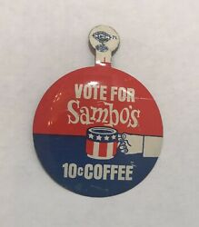 Sambos Restaurant Pin Button Vintage Vote For Coffee