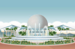 Epcot Fountain Of Nations Poster Print 11x17 Spaceship Earth