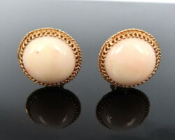 1950andrsquos Retro Natural Pink Coral And 14k Yellow Gold Dome Earrings