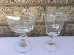 5 Lenox Antique Clear And Fostoria Wine Champagne/ Tall Sherbet Crystal Glasses