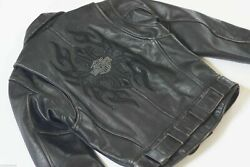 Harley Davidson Womenand039s Vintage 90and039s Leather Jacket Classic Style Black Tribal S