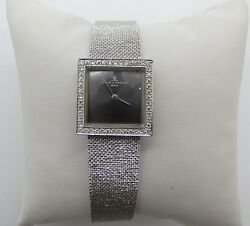 Vintage 14k White Gold Baume And Mercier Square Top Watch With Diamond Bezel