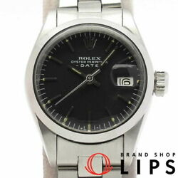 Rolex Oyster Perpetual Date Antique 6916 3 Production Of Ss Black Board Oh