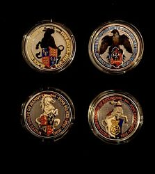 Coloured Queens Beast 2 Oz Coins -lot Of 4-