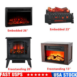 13-26 Electric Fireplace Stove Heater Free Standing Compact Infrared Quartz Us