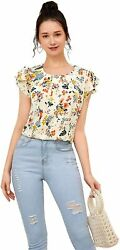 Romwe Womenand039s Floral Ruffle Cap Sleeve Pleated Front Summer Tops Blouse Shirts
