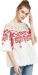 Romwe Womenand039s Cold Shoulder Floral Embroidered Lace Scalloped Hem Blouse Top
